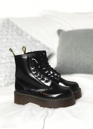 Шикарные кожаные ботинки с мехом мартинс dr martens jadon blac...