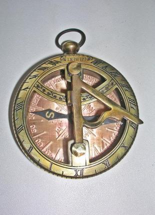 Карманный компас с солнечными часами Gilbert & Sons.  Новый