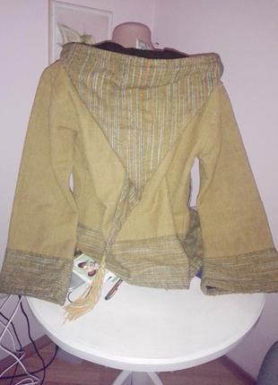 Дизайнейрская куртка коттон шерсть с капюшоном этностиль австрия