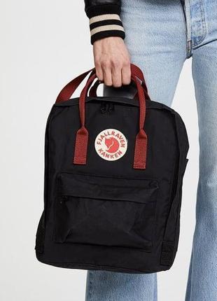 Рюкзак Fjallraven Kanken Black/Ox Red - черный с бордовой ручкой