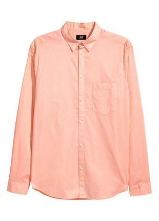 Абрикосовая хлопковая рубашка h&m , regular fit