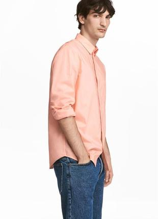 Абрикосовая хлопковая рубашка h&m , regular fit !