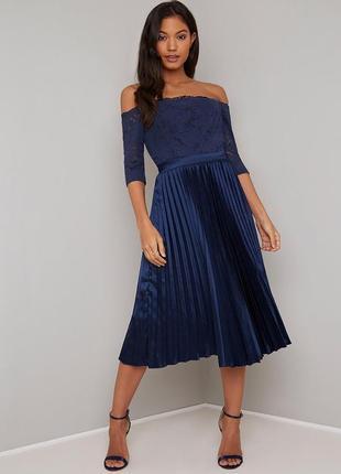Chi chi london платье нарядное синее плиссе кружево гипюр экск...