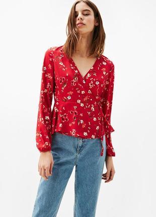 Блуза блузка в цветочный принт с рукавом фонариком  рукава буф...