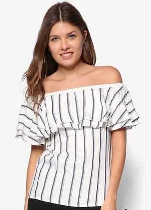 Натуральная блуза топ на плечи в полоску волан на груди 16/50-...