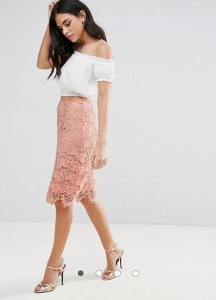Кружевная  юбка карандаш миди персикового цвета