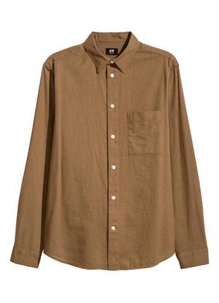 Горчичная льняная рубашка h&m , regular fit !