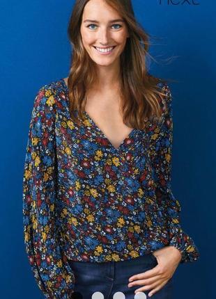 Красивая блуза цветочный принт плиссе на запах 16/50-52 размера