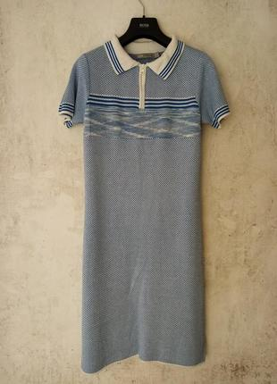 Платье поло, на молнии, вискоза, джерси, трикотаж