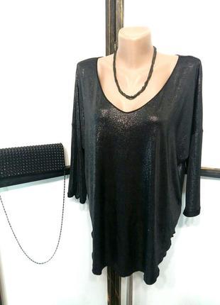 Черная блестящая вечерняя нарядная блуза на новый год корпорат...