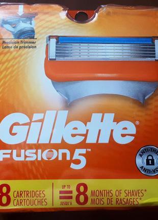 Лезвия gillette fusion 5 кассеты для станков из сша. упаковка ...