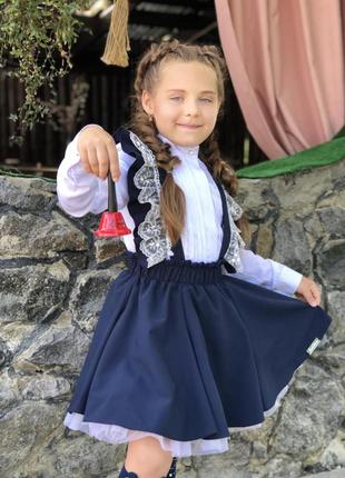 Школьная юбка со съёмными бретельками и фатиновыми подьюбниками