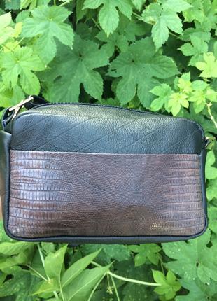 Кожаная сумка женская со вставкой  коричневой рептилии  / шкіряна