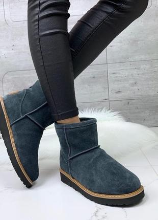 ❤ женские синие зимние замшевые угги ugg ботинки сапоги полуса...