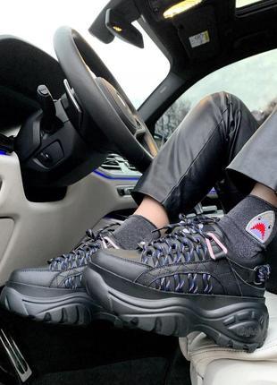 Шикарные женские кроссовки на платформе buffalo london black (...