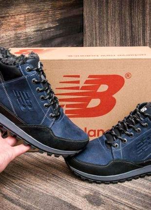 Мужские зимние кожаные кроссовки New Balance Clasic Blue (реплика