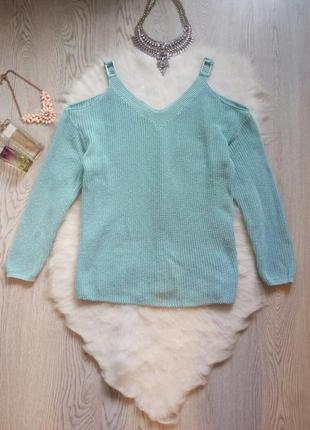 Голубой бирюзовый свитер с открытыми плечами кофта с вырезами ...