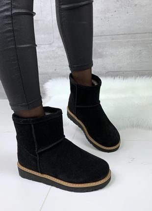 ❤ женские черные зимние замшевые угги  ботинки сапоги полусапо...