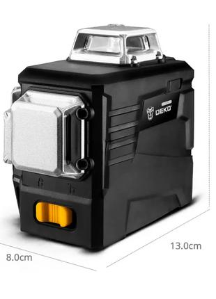 Лазерный Уровень Deko 3D Бирюзовый Луч 12 Линий • Нивелир • 360°