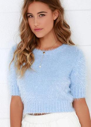 Пушистый голубой мятный бирюзовый короткий свитер кофта травка...