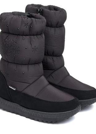 Женские зимние черные сапоги дутики со стразами снежинками укр...