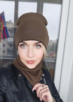 Комплект баф и шапка женская мужская унисекс зимняя теплая шар...