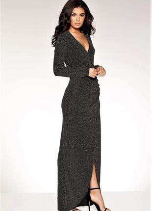 Невероятное 💣блестящие платье на запах с блестками люрекс-глит...