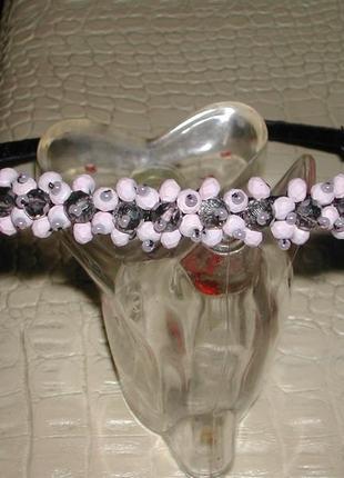 Розово-серебристый обруч c с хрустальными бусинами для волос