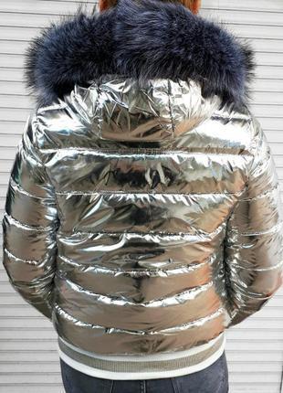 ✅куртка серебро мех эко чернобурка , возможна доставка наложным