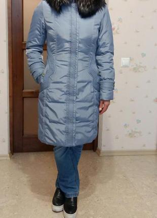 Пуховик, зимнее пальто, мех чернобурки