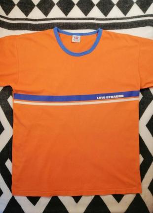Винтажная футболка levi strauss оранжевого цвета с надписью