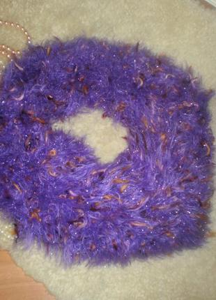 Красивенний шарф-снуд пушистик. яскраво-фіолетовий колір з люр...