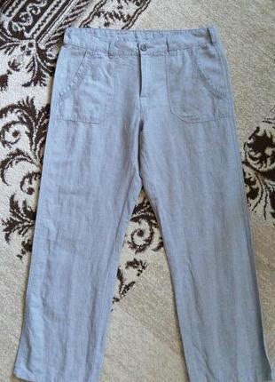 Свободные натуральные укороченные брюки лен/коттон от mantaray