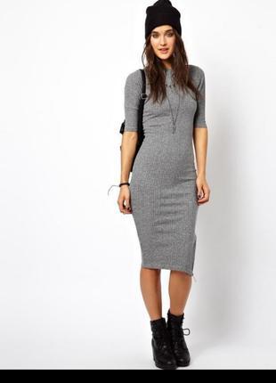 Идеальное базовое серое в рубчик платье Topshop