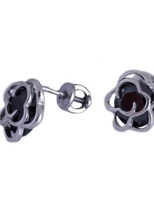 Серьги-пуссеты из серебра с покрытием из родия «розочка» с фиа...