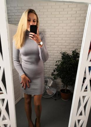 Платье гольф, платье рубчик, платье резинка, теплое платье