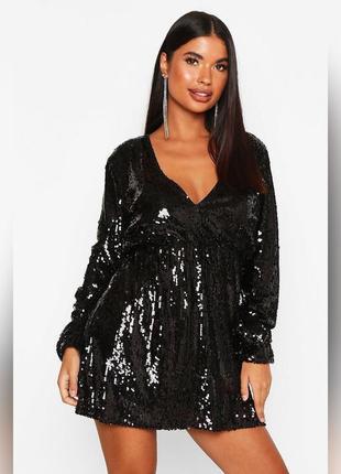 Вечернее платье в пайетках, блестящее маленькое чёрное и белое