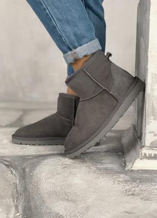 Зимние ugg classic mini grey