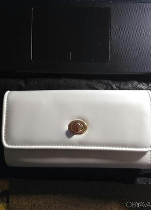 Женский стильный светло- серый кошелек под купюру. Экокожа.