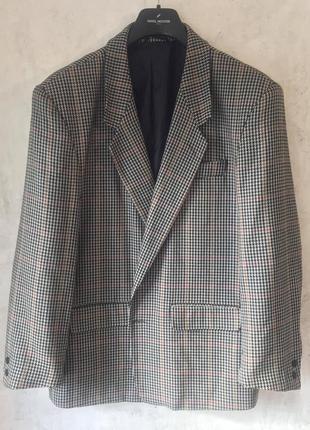 Мужской пиджак, клетка, гусинная лапка, 100% шерсть, стиль, ка...