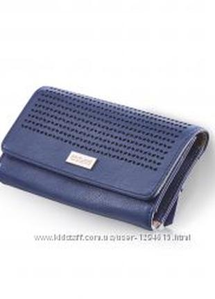 Женский синий кошелек из экокожи.