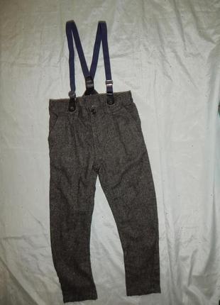 Штаны брюки теплые с подтяжками модные стильные школьные на ма...