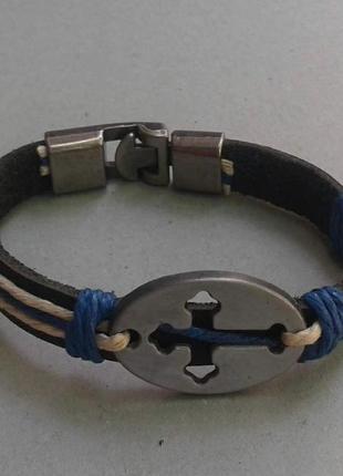 Натуральная кожа браслет крест синий