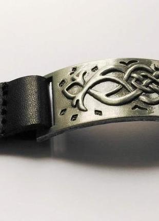 Браслет, натуральная кожа и металл, размер регулируется 18,5 с...