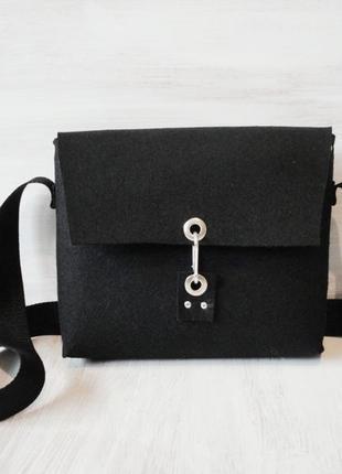 Новая сумка из чёрного войлока, размером 25 на 20 см.
