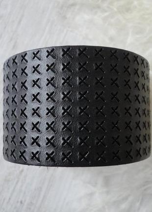 Широкий, чёрный,кожаный браслет
