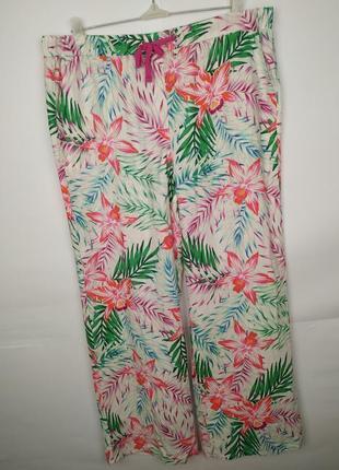 Брюки штаны новый 100% лен! красивый принт marks&spencer uk 16...