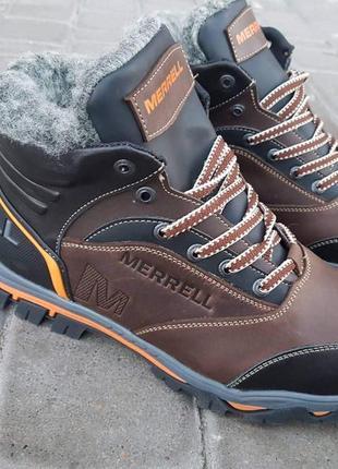Ботинки зимние merrel brown orange