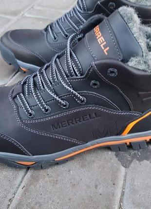 Ботинки зимние merrel black orange