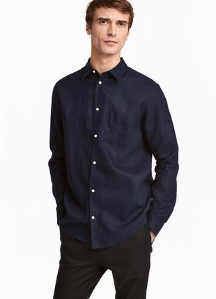 Льняная рубашка h&m premium quality , relaxed fit !